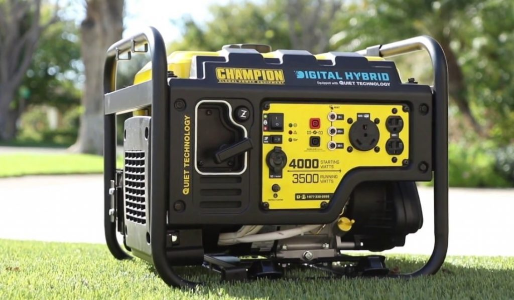 Champion generator used on a campsite