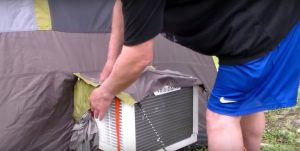 The Frigidaire 5000 BTU AC unit fitted outside a 6 person tent