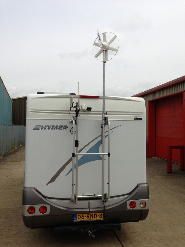 portable wind turbine mounted on a motorhome