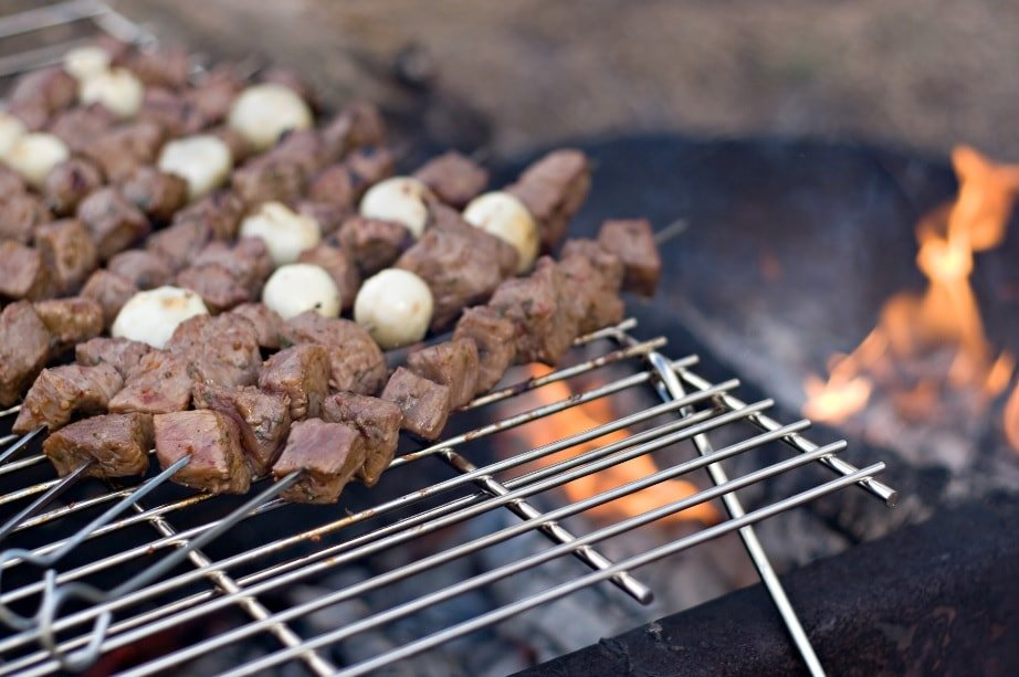 grill grates over campfire