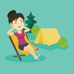 comfortable tent camping illustration