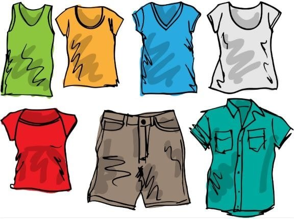 an illustration of clothes to wear when summer camping