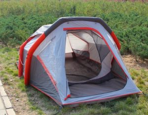 pitched inflatable tent