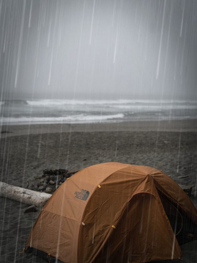 a waterproof tent in the rain