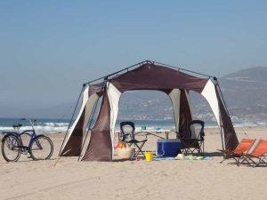 camping on a sandy beach