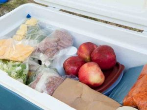 food that being kept cold in a cooler box while camping